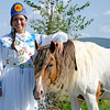 Miss Choctaw Nation Cheyenne Murray with Going Streak, a Choctaw Spanish Mustang stallion from The Spirit of Blackjack Mountain.